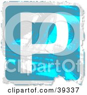 Clipart Illustration Of A Blue Grungy Square Parking Sign