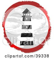 Clipart Illustration Of A Grungy Red White And Black Circular Lighthouse Sign by Prawny