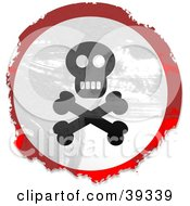 Clipart Illustration Of A Grungy Red White And Black Circular Jolly RogerSign