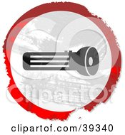 Clipart Illustration Of A Grungy Red White And Black Circular Flashlight Sign