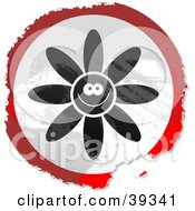 Clipart Illustration Of A Grungy Red White And Black Circular Happy Flower Sign by Prawny