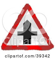 Clipart Illustration Of A Grungy Red White And Black Cross Triangular Sign by Prawny