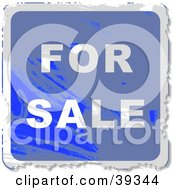 Clipart Illustration Of A Blue Grungy Square For Sale Sign