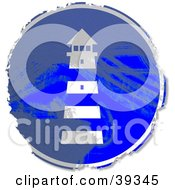 Clipart Illustration Of A Grungy Blue Circular Lighthouse Sign by Prawny