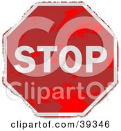 Clipart Illustration Of A Grungy Red Stop Sign