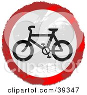 Clipart Illustration Of A Grungy Red White And Black Circular Bicycle Sign by Prawny