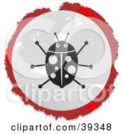 Clipart Illustration Of A Grungy Red White And Black Circular Ladybug Sign