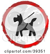 Clipart Illustration Of A Grungy Red White And Black Circular Dog Walking Sign