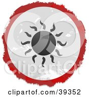 Clipart Illustration Of A Grungy Red White And Black Circular Sun Sign