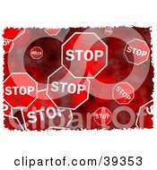 Clipart Illustration Of A Background Of Grungy Red Stop Signs