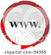 Clipart Illustration Of A Grungy Red White And Black Circular WWW Sign by Prawny