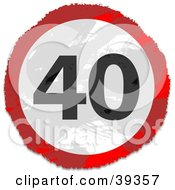 Clipart Illustration Of A Grungy Red White And Black Circular 40 Sign by Prawny