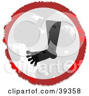 Clipart Illustration Of A Grungy Red White And Black Circular Foot Sign