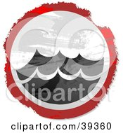 Clipart Illustration Of A Grungy Red White And Black Circular Surf Sign by Prawny