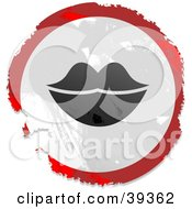 Clipart Illustration Of A Grungy Red White And Black Circular Lips Sign by Prawny