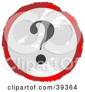 Clipart Illustration Of A Grungy Red White And Black Circular Question Mark Sign by Prawny