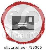 Clipart Illustration Of A Grungy Red White And Black Circular Mail Sign by Prawny