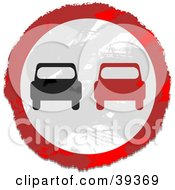 Clipart Illustration Of A Grungy Red White And Black Circular Car Sign