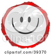 Clipart Illustration Of A Grungy Red White And Black Circular Happy Face Sign
