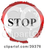 Clipart Illustration Of A Grungy Red White And Black Circular Stop Sign