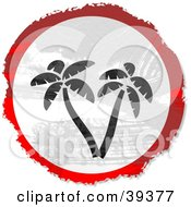 Clipart Illustration Of A Grungy Red White And Black Circular Palm Tree Sign by Prawny