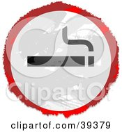 Clipart Illustration Of A Grungy Red White And Black Circular Smoking Sign by Prawny