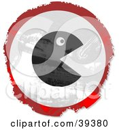 Clipart Illustration Of A Grungy Red White And Black Circular Gaming Sign by Prawny