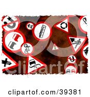 Clipart Illustration Of A Background Of Grungy Red And White Road Signs
