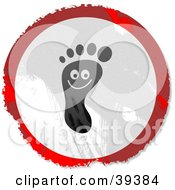 Grungy Red White And Black Circular Smiling Foot Sign