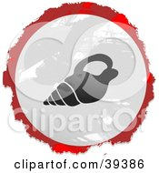 Clipart Illustration Of A Grungy Red White And Black Circular Conch Shell Sign by Prawny
