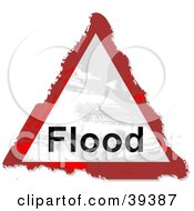 Clipart Illustration Of A Grungy Red White And Black Triangular Flood Sign by Prawny