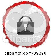 Clipart Illustration Of A Grungy Red White And Black Circular Lock Sign by Prawny