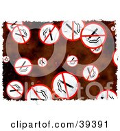 Clipart Illustration Of A Background Of Grungy Red And White No Smoking Signs