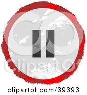 Clipart Illustration Of A Grungy Red White And Black Circular Pause Button Sign