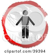 Clipart Illustration Of A Grungy Red White And Black Circular Man Sign by Prawny