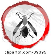 Clipart Illustration Of A Grungy Red White And Black Circular Wasp Sign
