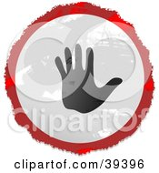 Grungy Red White And Black Circular Waving Hand Sign