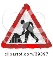 Clipart Illustration Of A Grungy Red White And Black Triangular Digging Sign