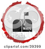 Grungy Red White And Black Circular Mailbox Sign