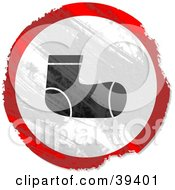 Clipart Illustration Of A Grungy Red White And Black Circular Sock Sign by Prawny