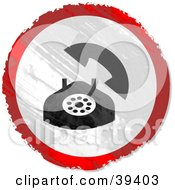 Clipart Illustration Of A Grungy Red White And Black Circular Landline Phone Sign