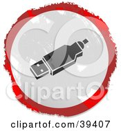 Clipart Illustration Of A Grungy Red White And Black Circular USB Sign by Prawny