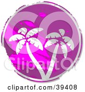 Clipart Illustration Of A Grungy Purple Circular Palm Tree Sign by Prawny