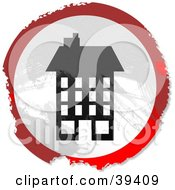Clipart Illustration Of A Grungy Red White And Black Circular Tall Building Sign