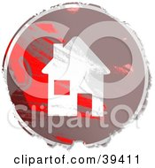Clipart Illustration Of A Grungy Red And Brown Circular House Sign