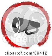 Clipart Illustration Of A Grungy Red White And Black Circular Megaphone Sign