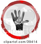 Grungy Red White And Black Circular Happy Hand Sign
