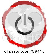 Clipart Illustration Of A Grungy Red White And Black Circular Power Button Sign