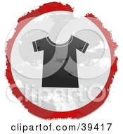 Clipart Illustration Of A Grungy Red White And Black Circular T Shirt Sign