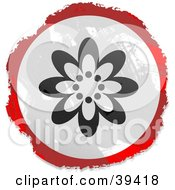Clipart Illustration Of A Grungy Red White And Black Circular Flowering Sign by Prawny